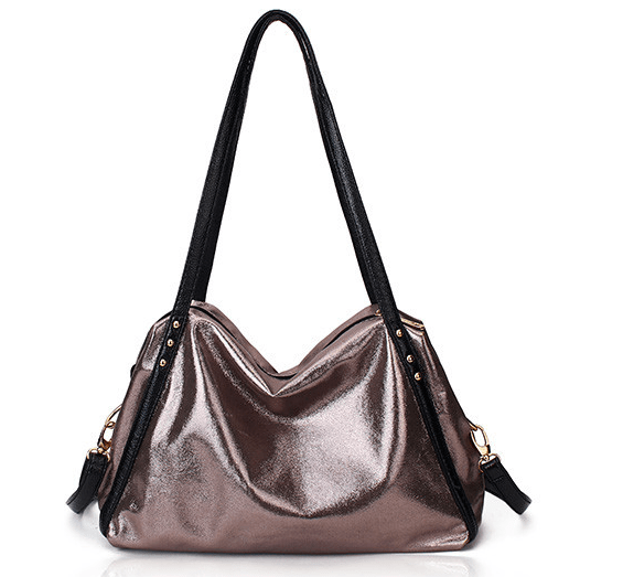 Shoulder metallic handbag