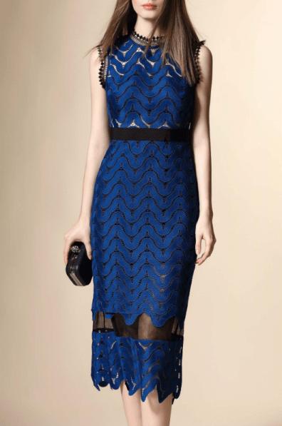 Trendiest Outfits, blue, mesh, midi dress, dezzal,