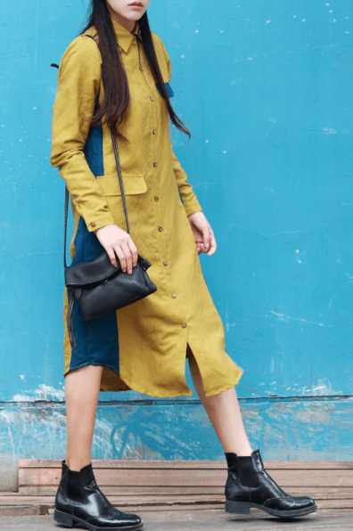 Trendiest Outfits, mustard & denim, edgy, shirt dress, dezzal,