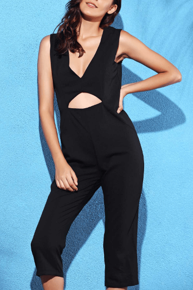 Black Hollow Plunging Neck Sleeveless cropped Jumpsuit