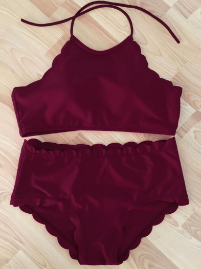 High-Neck Scalloped Bikini Set