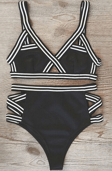 High Waisted Spaghetti Straps Bikini Set