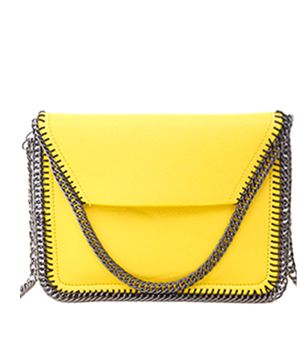 Candy Color Chains PU Leather Crossbody Bag