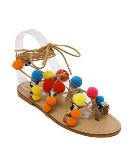 Pompon Lace-Up Flat Heel Sandals