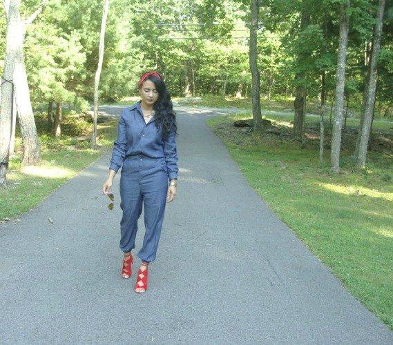 Lace-Up Heels, denim overalls, zaful.com