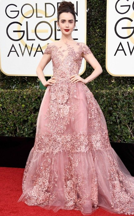 Lily Collins, Zuhair Murad Couture, 2017 Golden Globe Awards Red Carpet 10 Best Dressed Celebs