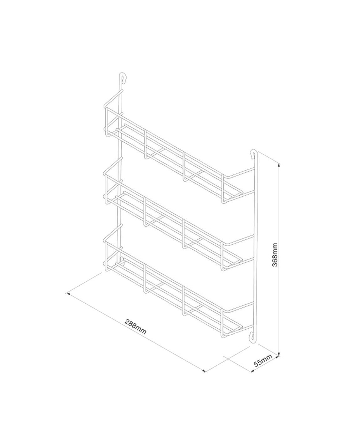 Wwsr304 Spice Rack Three Tier For Kitchen Doors 400mm