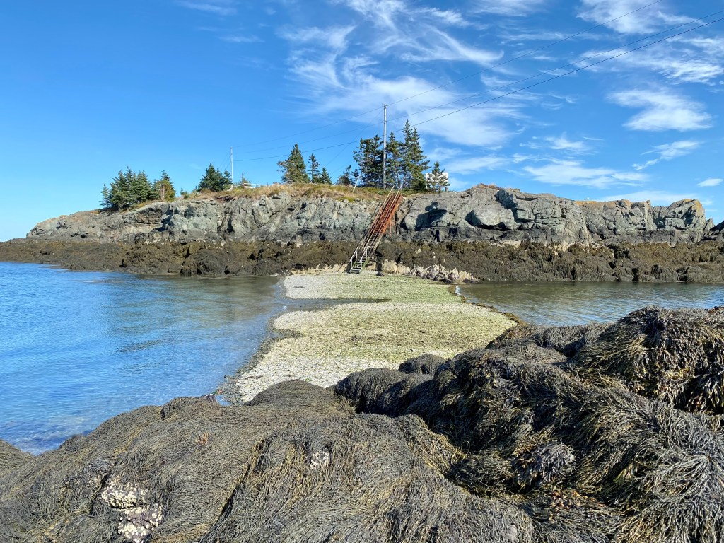 Stairs revealed leading to Head Harbour Lighthouse on Campobello Island