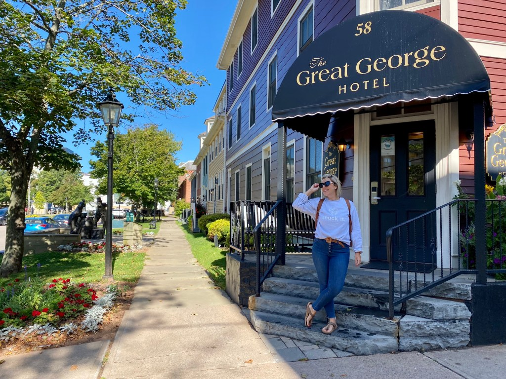 Crystal standing in Charlottetown at the Great George Hotel