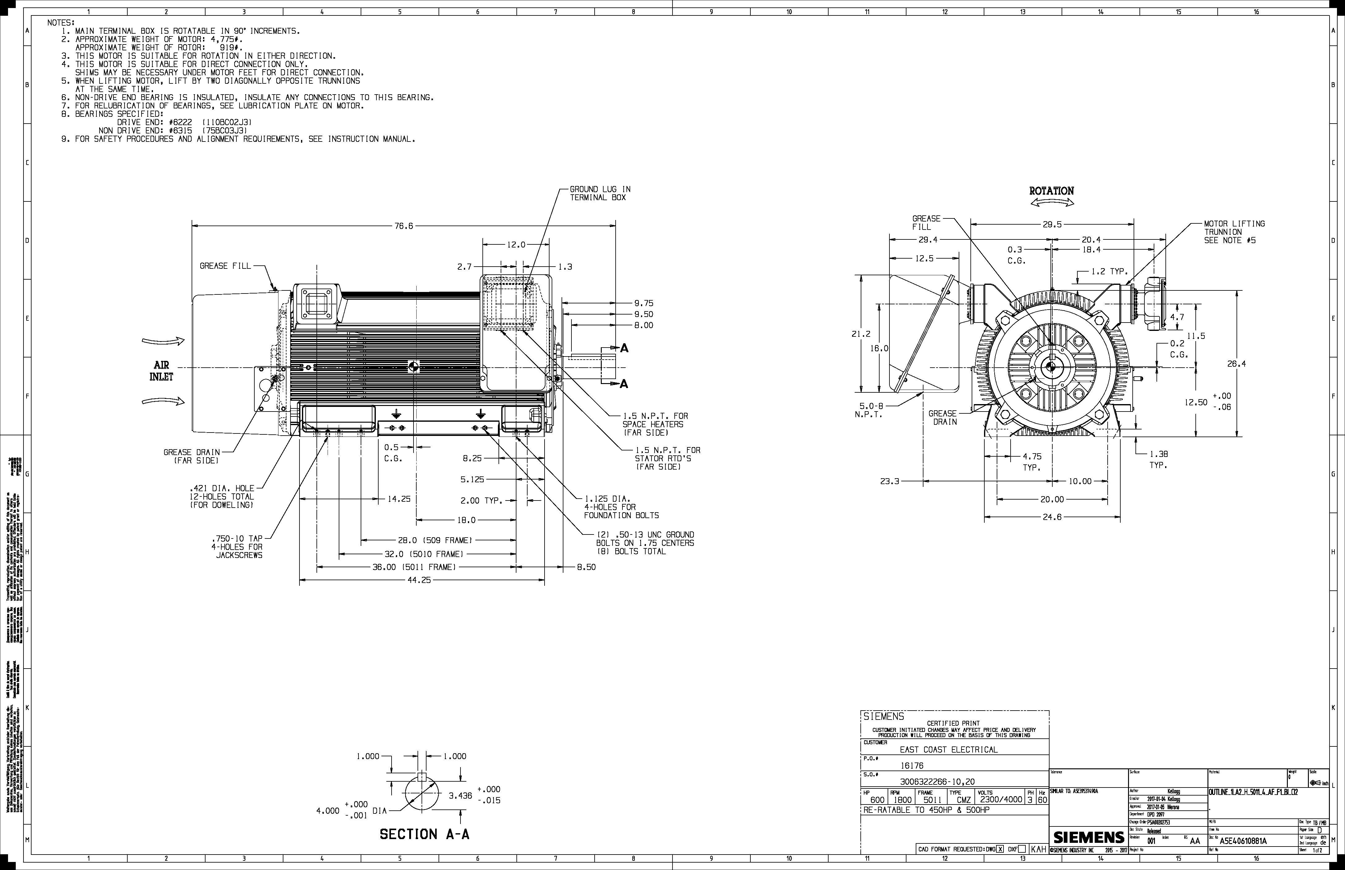 600 Hp Rpm Siemens Frame Bbtefc V New 2