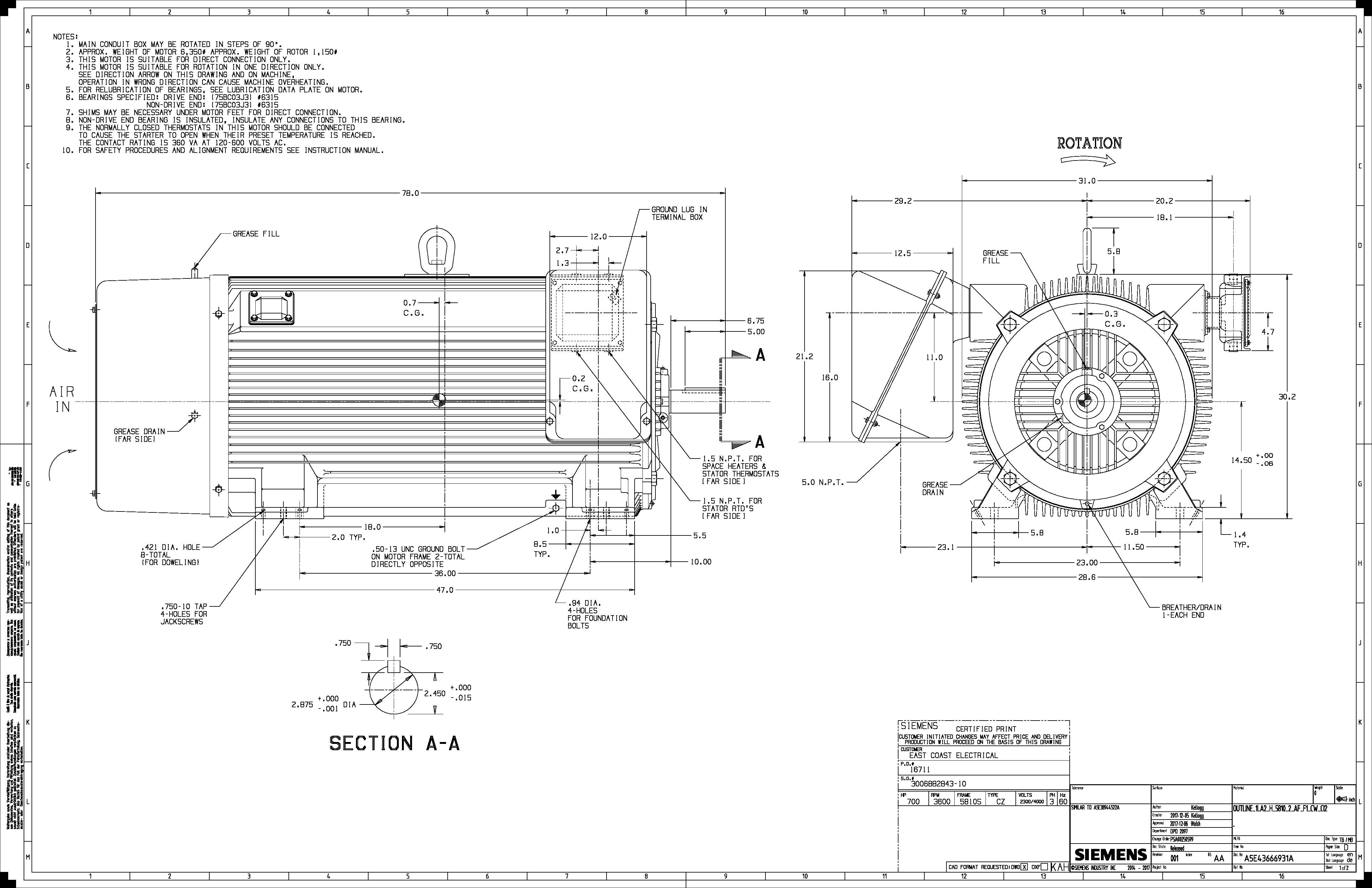 600 Hp Rpm Siemens Frame S Bbtefc V New 2