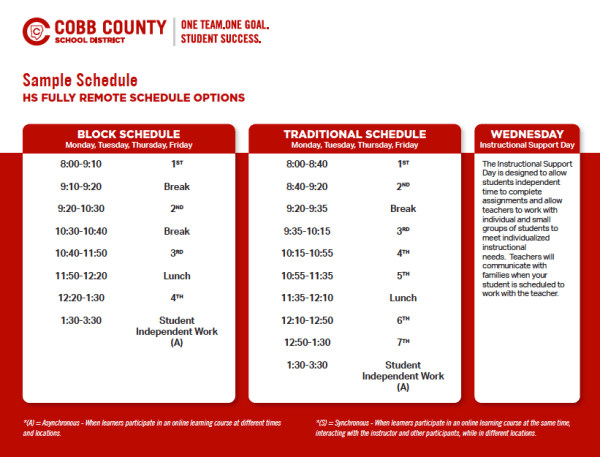 Cobb schools sample schedule