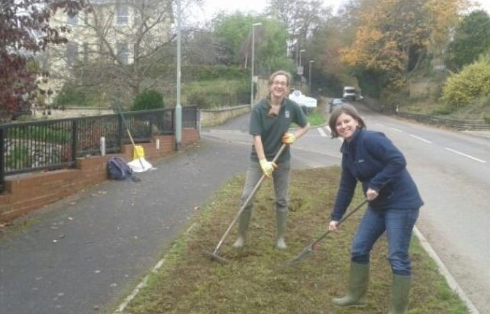 Ottery Devon Councillor Claire Wright is pictured with Emily Stallworthy from Devon Wildlife Trust in October 2013 preparing one of three pilot wildflower verges in the Otter Valley ward.