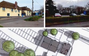 Plans were for three detached homes in art of the car park of the Blue Ball Inn in Sidford.