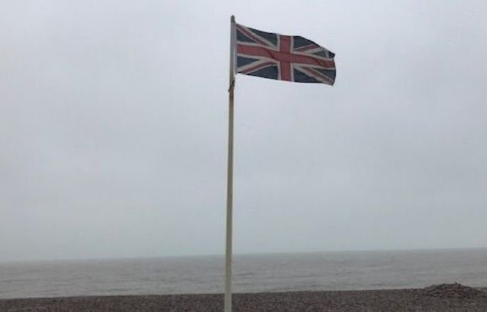 The Union flag on Budleigh Salterton seafront in November 2019, on the temporary pole.