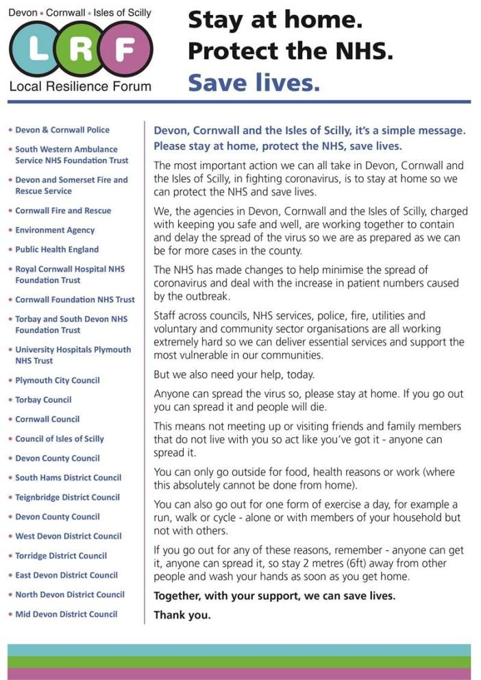 The open letter to Devon and Cornwall residents from the Local Resilience Forum.