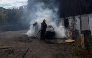 The car blaze in Pankhurst Close, Exmouth. Picture: Exmouth Fire Station