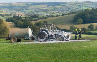 The aftermath of the tractor blaze in Whitford. Picture: Seaton Fire Station