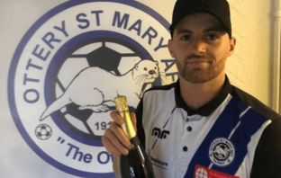 Goalkeeper Jacob O'Callaghan with his Smith's Wines September Ottery St Mary Player of the Month award for September. Picture: Ottery St Mary AFC