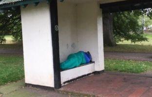 East Devon A homeless man sleeping rough in Phear Park in Exmouth. Image: Gillian Adamson