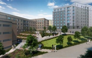 An artist's impression of the Clydesdale and Birks Residential student flats development at the University of Exeter.