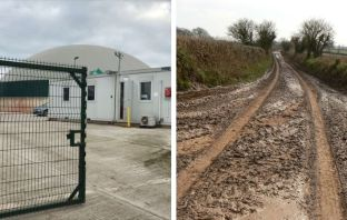 Left, the Enfield Farm AD plant at Clyst St Mary. Right, muck on country roads caused by vehicles carrying liquid digestate Images: Devon CPRE