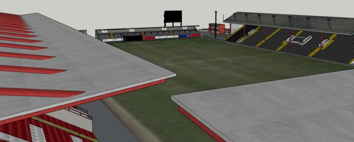 An artist's impression of the proposed new scoreboard at St James Park in Exeter.