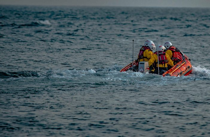 Exmouth RNLI inshore lifeboat attending the rescue. Photo: Mark Campbell