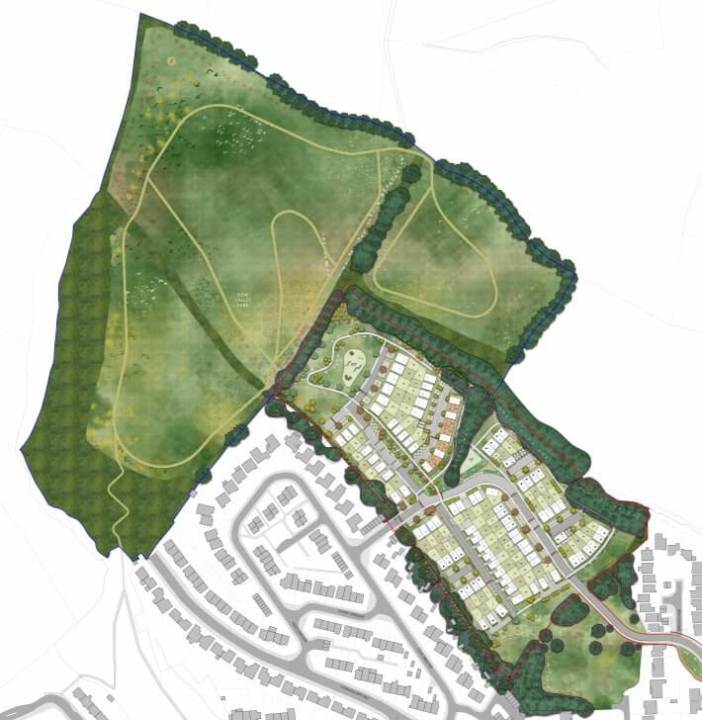 Exeter From the planning application - a revised indicative masterplan showing New Valley Park.