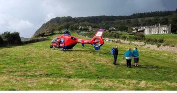 Semi-conscious woman is airlifted to hospital after slipping on path near Sidmouth