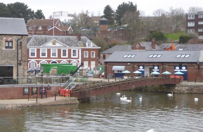 The old Mallison Bridge at Exeter Quay before it was removed. Image: Geograph/David Smith
