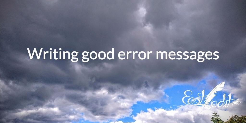 Writing good error messages
