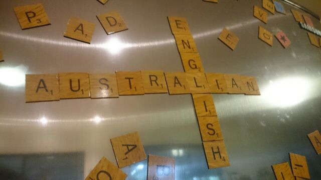 'Australian English' spelled in fridge magnets