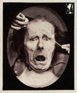 Experiments in physiology. Facial expressions; Terror Credit: Wellcome Library, London. Wellcome Images images@wellcome.ac.uk http://wellcomeimages.org The facial expression of terror on the human face being induced by electrical currents. Photograph 19th Century By: Guillaume Benjamin Amand Duchenne de BoulogneMÈcanisme de la physionomie humaine, ou, Analyse Èlectro-physiologique de l'expression des passions Guillaume Benjamin Amand Duchenne de Boulogne Published: 1862 Copyrighted work available under Creative Commons Attribution only licence CC BY 4.0 http://creativecommons.org/licenses/by/4.0/