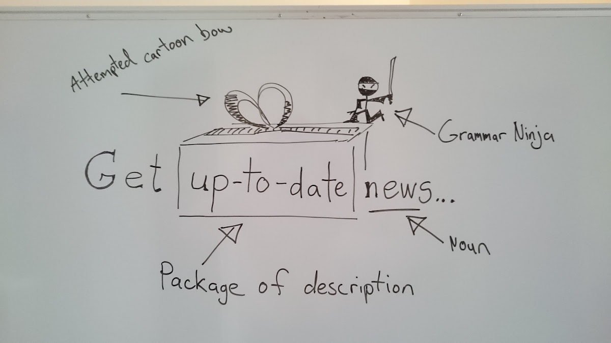 Poorly drawn cartoon on a whiteboard showing 'up-to-date' used as an adjective