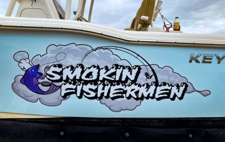 smokin fishermen boat graphic wrap