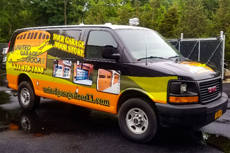 united garage door truck wrap