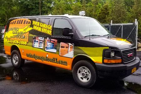 united garage door truck wrap