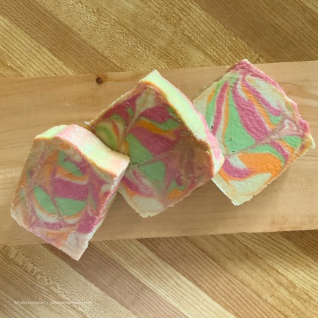 3 bars of colorful bath soap