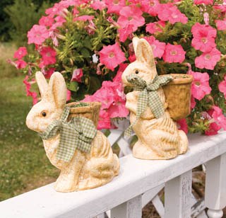 Outdoor Easter Yard Decorations Outside Decor Spring Vintage Style Bunny Basket Planters