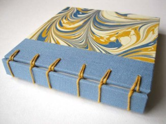 Secret Belg. Binding. Marble paper by Victoria Hall.