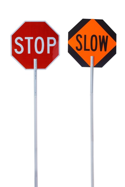 stop, slow, sign stands, poles
