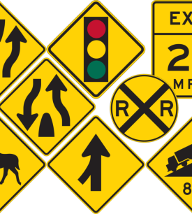 yellow warning signs rigid material