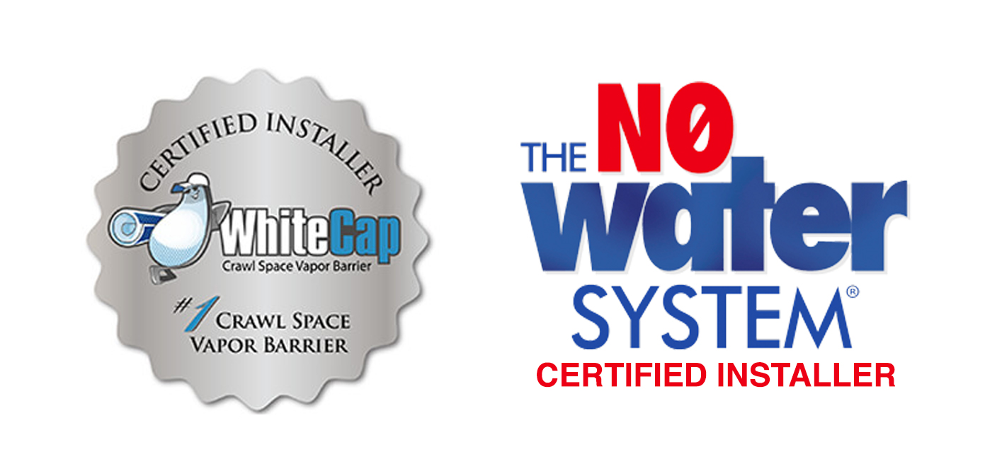 white cap crawl space certified installer and no water system certified installer logo