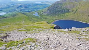 Lough Coomloughra and Lough Eighter from the northwest ridge of Caher.