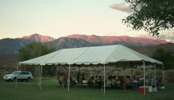 Everyone thoroughly enjoyed dinner under the tent as a gorgeous sunset lit up the White Mountains in the distance. Thanks to Heidi Goodwin for this photo!
