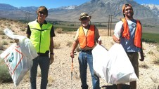 Wally (center) joins fellow volunteers at ESLT's frequent Highway Cleanups along Scenic Highway 395.