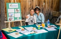 Cindy Kamler of Eastern Sierra Wildlife Care (left) came out to share her knowledge about how to help native wildlife if they wander into your yard. She was joined for this photo by friend Kathy Duvall.
