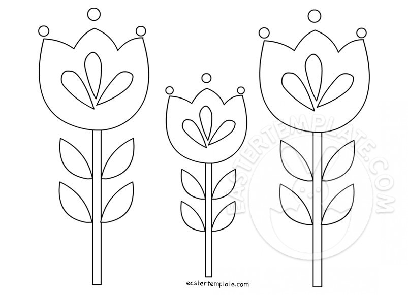 Tulips Coloring Easter Template