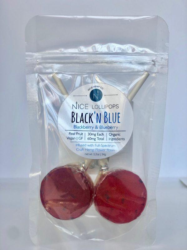Black 'N Blue lollipops feature blackberry & blueberry hemp CBD. 30mg CBD per Lollipop, 60mg CBD total. Made with real fruit. Vegan and Gluten Free.